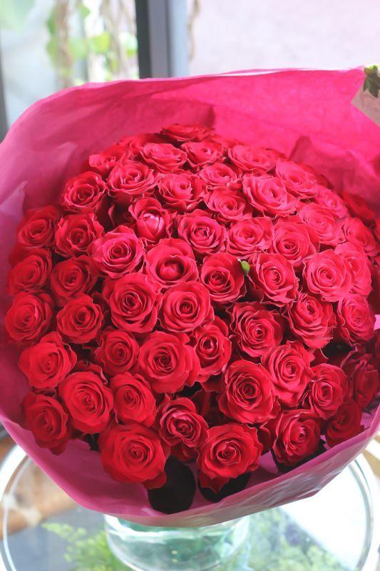 画像1: 赤バラ60本ブーケ